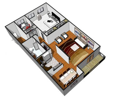 3D Furnished. 1 Bedroom 1 Bathroom Deluxe. 765 sq. ft.