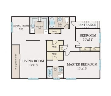 2 Bedroom 2 Bathroom. 1044 sq. ft.